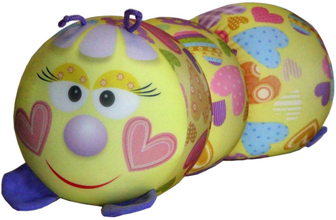Подушка-валик антистрессовая Штучки, к которым тянутся ручки Гусеница. Сердечко, цвет: желтый, 38 x 18 см подушка валик антистрессовая штучки к которым тянутся ручки кот полосатый цвет малиновый 38 x 18 см