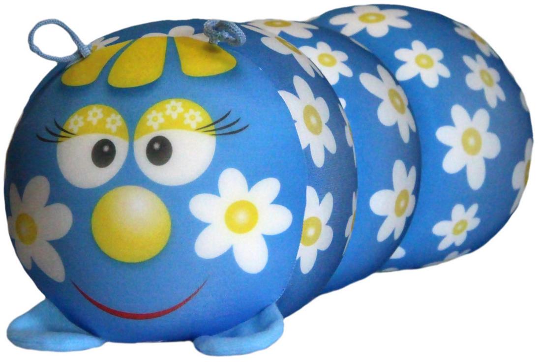 Подушка-валик антистрессовая Штучки, к которым тянутся ручки Гусеница. Ромашка, цвет: голубой, 38 x 18 см подушка валик антистрессовая штучки к которым тянутся ручки кот полосатый цвет малиновый 38 x 18 см