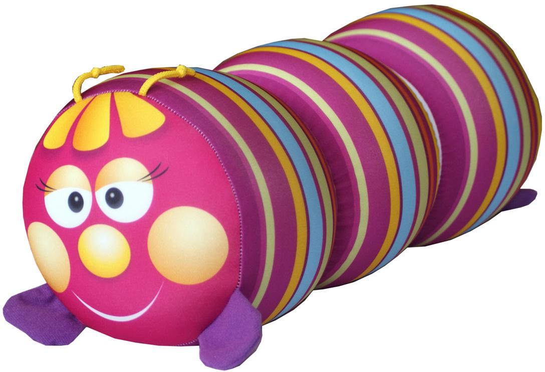 Подушка-валик антистрессовая игрушка Гусеница, розовый антистрессовая подушка подкова 30 30
