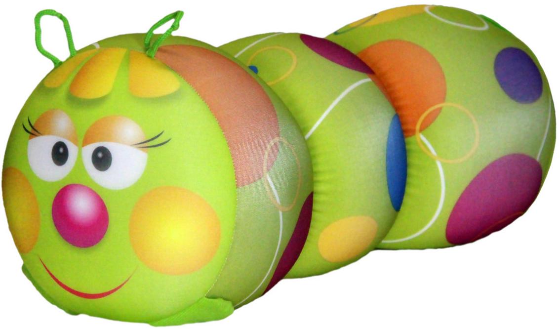 Подушка-валик антистрессовая Штучки, к которым тянутся ручки Гусеница, цвет: салатовый, 38 x 18 см. 12аси03ив-5 подушка валик антистрессовая штучки к которым тянутся ручки кот полосатый цвет малиновый 38 x 18 см