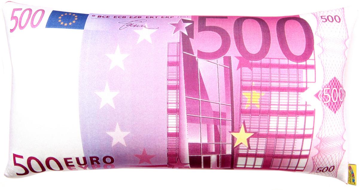 Подушка антистрессовая Штучки, к которым тянутся ручки Купюра. 500 евро, цвет: розовый, 39 x 18 см подушка валик антистрессовая штучки к которым тянутся ручки кот полосатый цвет малиновый 38 x 18 см