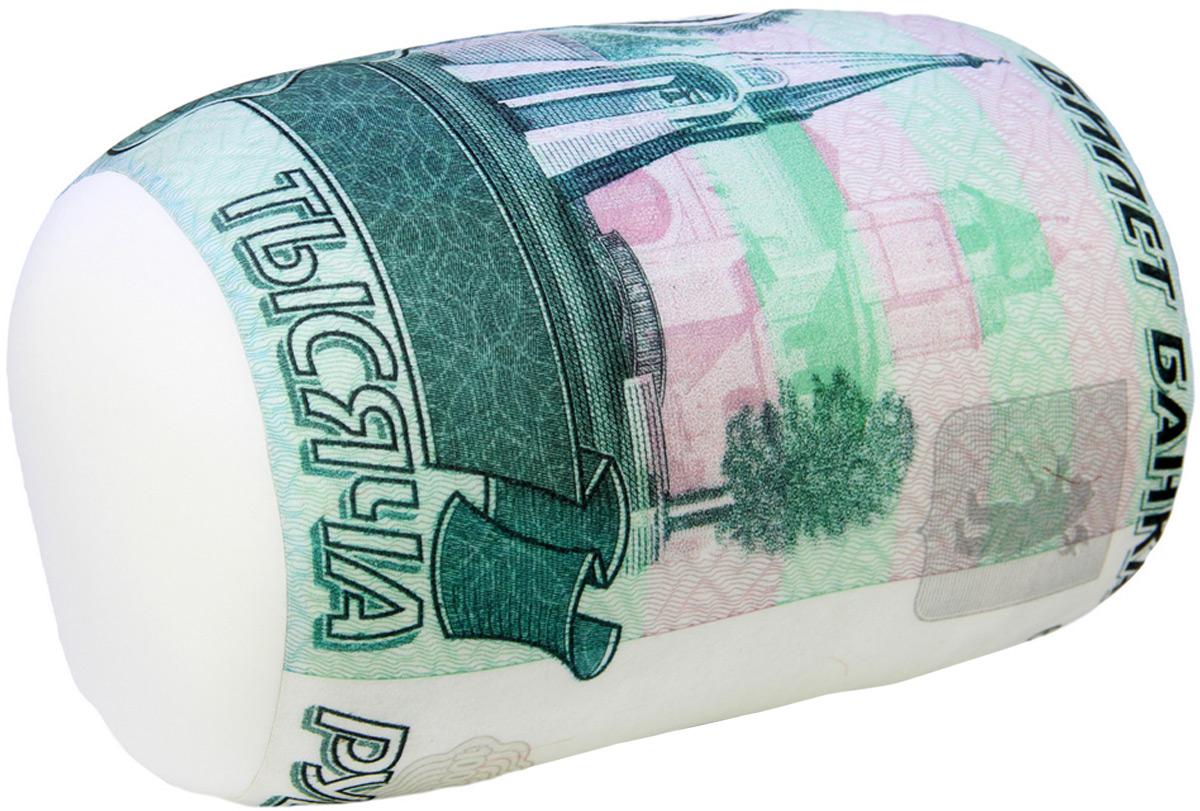 Подушка-валик антистрессовая Штучки, к которым тянутся ручки Валютный. 1000 рублей, цвет: зеленый, 37 x 21 см подушка валик антистрессовая штучки к которым тянутся ручки кот полосатый цвет малиновый 38 x 18 см