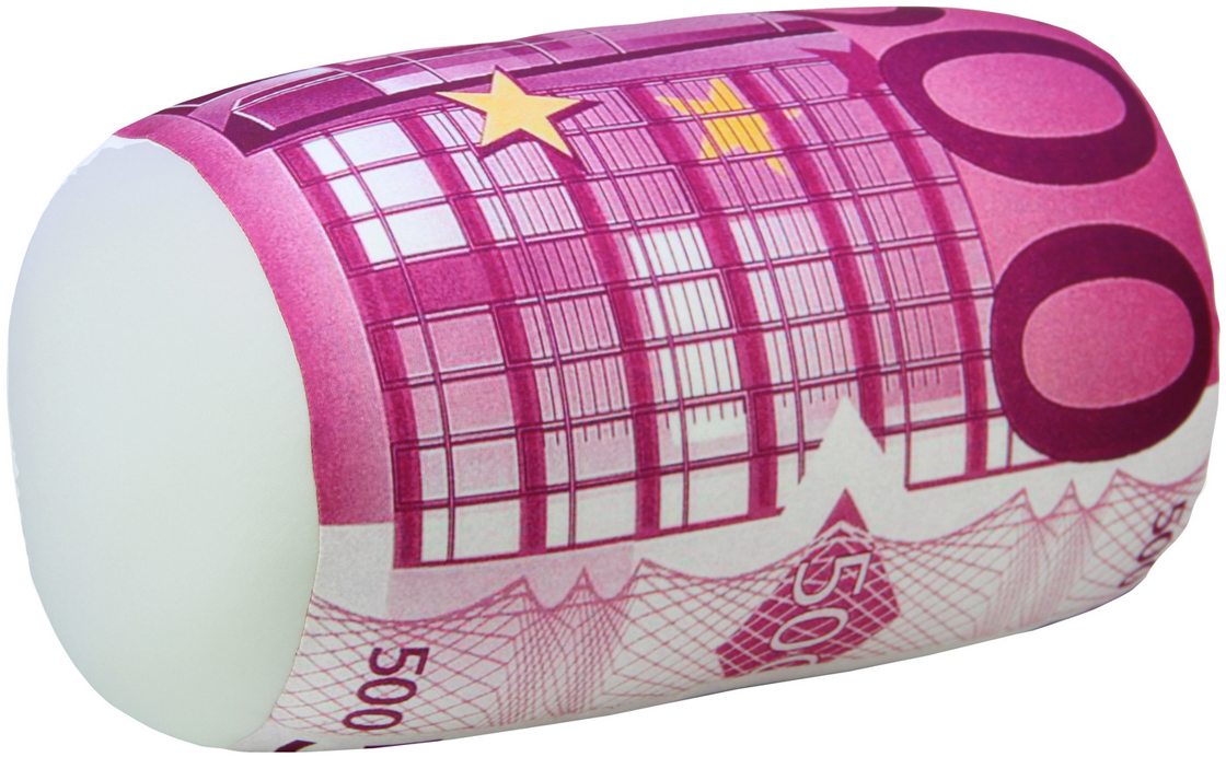 Подушка-валик антистрессовая Штучки, к которым тянутся ручки Валютный. 500 евро, цвет: розовый, 37 x 21 см подушка валик антистрессовая штучки к которым тянутся ручки кот полосатый цвет малиновый 38 x 18 см