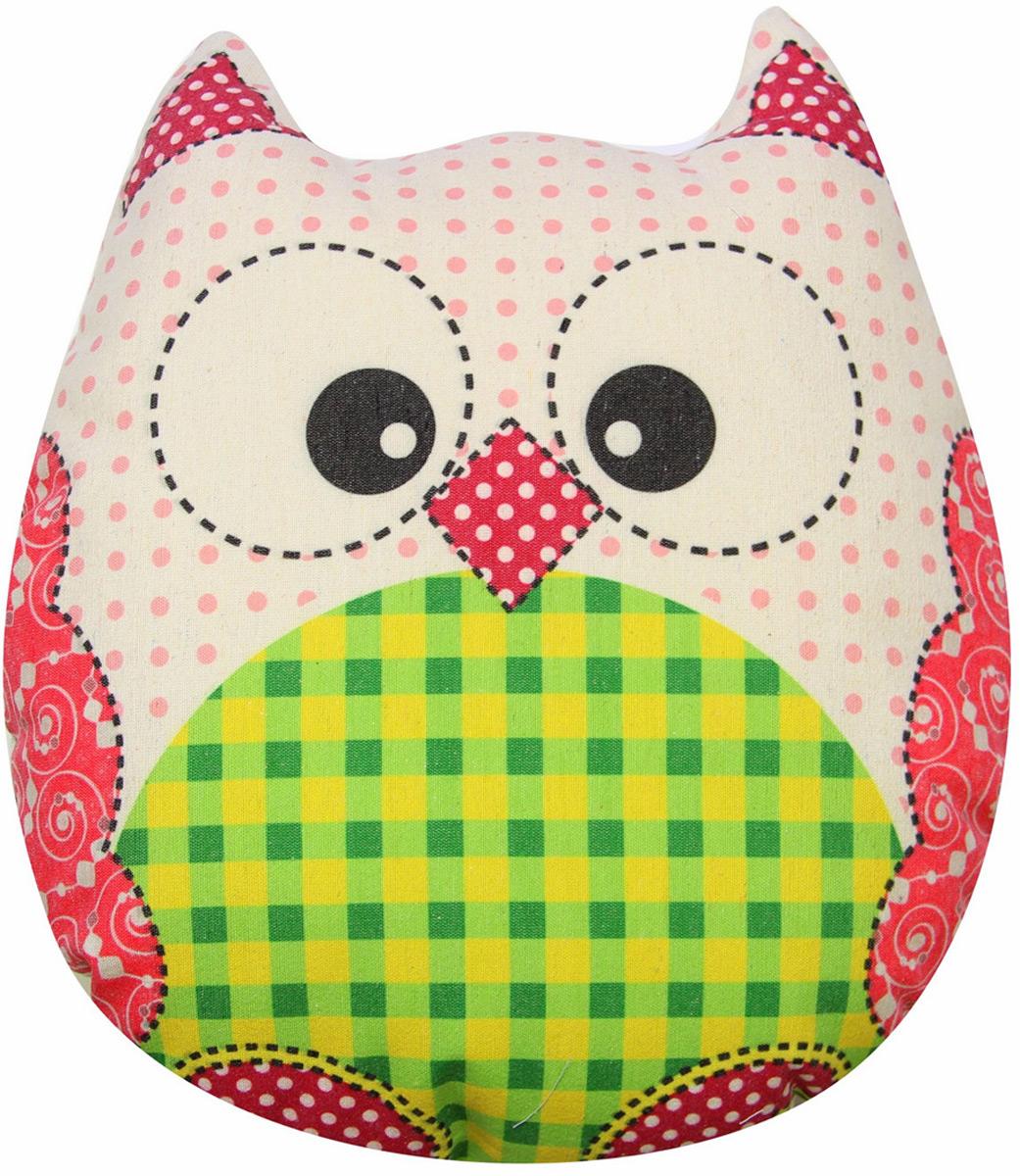 """Подушка-игрушка декоративная Штучки, к которым тянутся ручки """"Совы холст"""", цвет: розовый, зеленый, 41 x 38 см"""