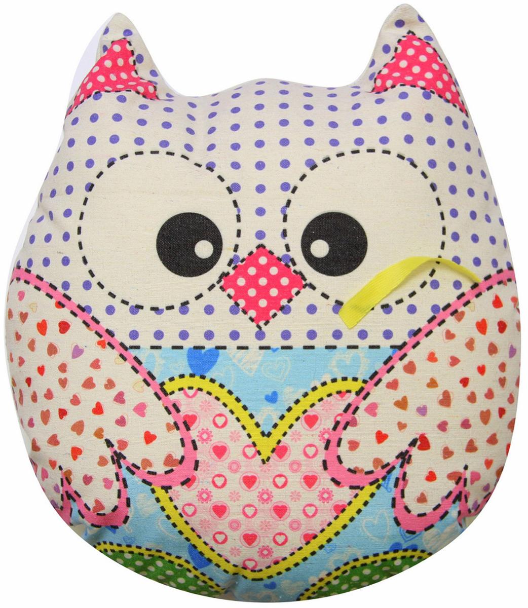 """Подушка-игрушка декоративная Штучки, к которым тянутся ручки """"Совы холст"""", цвет: белый, голубой, 41 x 38 см"""
