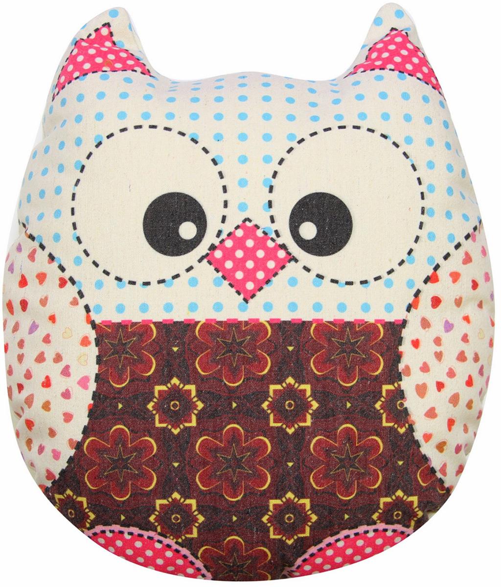"""Подушка-игрушка декоративная Штучки, к которым тянутся ручки """"Совы холст"""", цвет: красный, 41 x 38 см"""