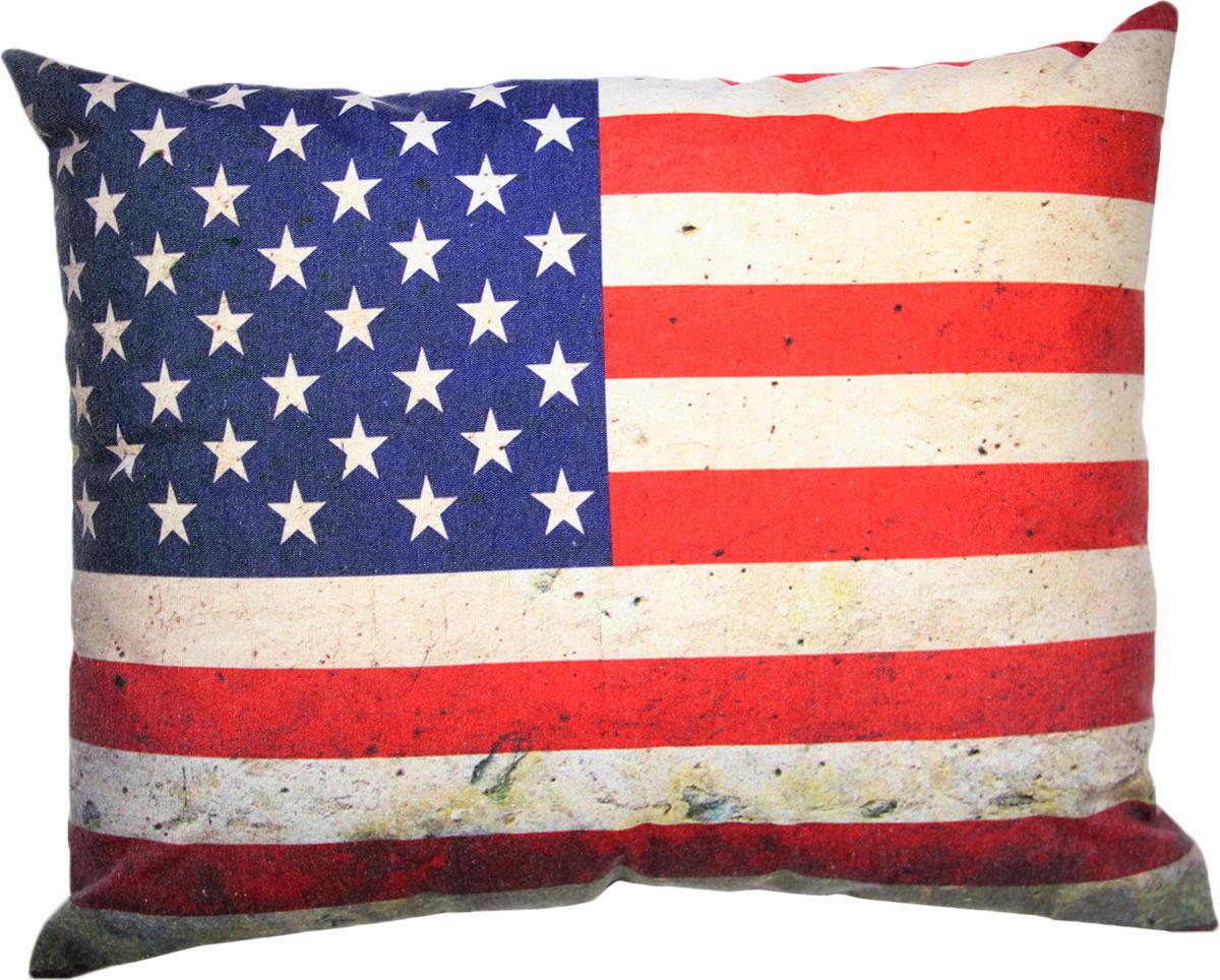 Подушка декоративная Штучки, к которым тянутся ручки Флаг холст. США, цвет: серый, 48 x 38 см