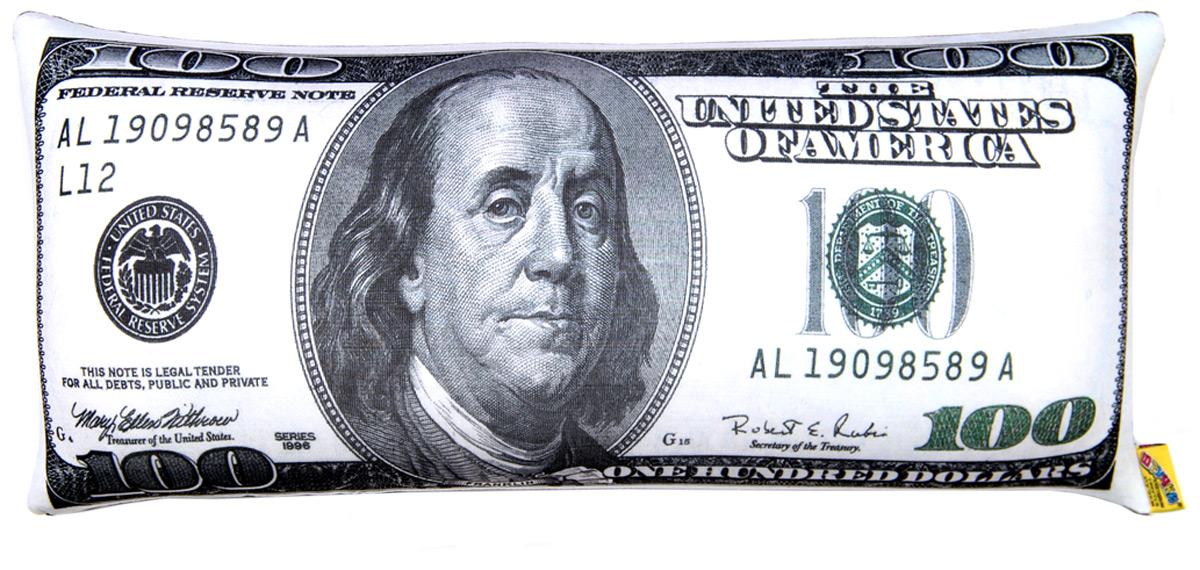 Подушка антистрессовая Штучки, к которым тянутся ручки Купюра. 100 долларов, цвет: серый, 39 x 18 см подушка валик антистрессовая штучки к которым тянутся ручки кот полосатый цвет малиновый 38 x 18 см