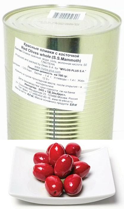 Mylos plus S.S.Mammoth Оливки красные, 4,326 л (вес основного продукта 2,5 кг)