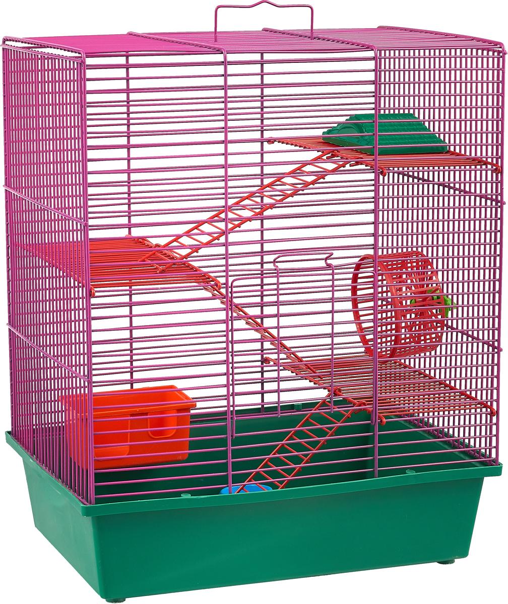 Клетка для грызунов Велес Lusy Hamster-4к, 4-этажная, цвет: зеленый, фиолетовый, 35 х 26 х 45 см клетка для грызунов велес lusy 2 2 этажная цвет красный 30 х 42 х 25 см