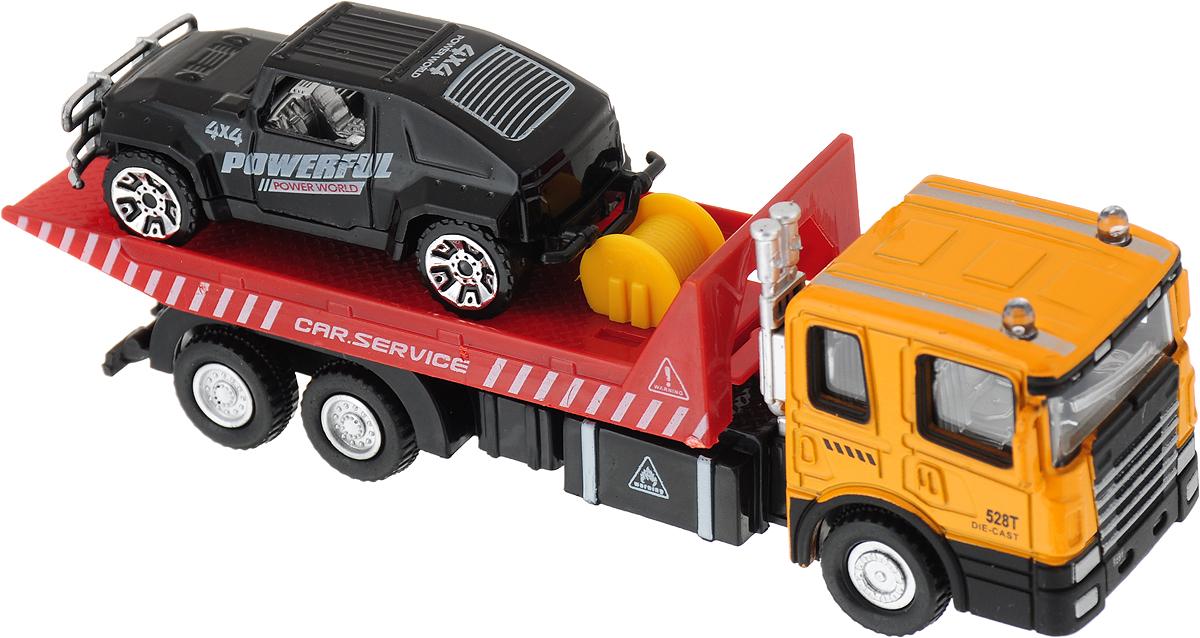Drift Машина спецтехника Vehicle Transporter внедорожник цвет оранжевый красный черный машина drift спецтехника бетономешалка 48228