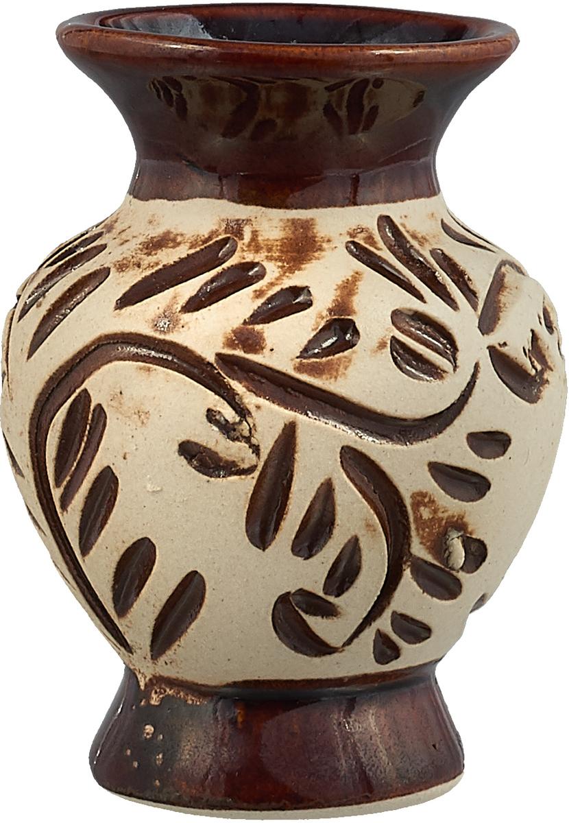 """Ваза Керамика ручной работы """"Стася"""", цвет: коричневый, 9 см. 1208572"""
