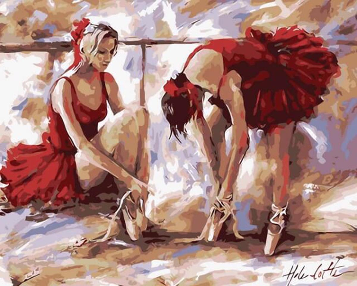 """Набор для рисования по номерам Цветной """"Балерины в красном"""", 40 х 50 см"""
