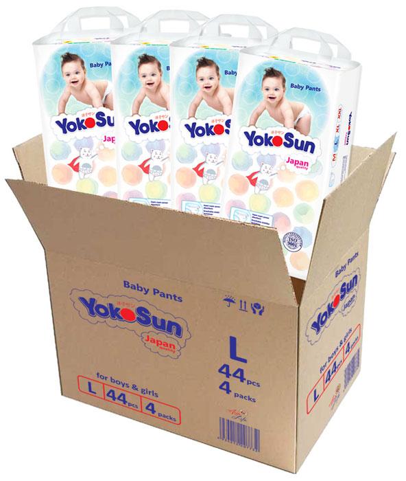 YokoSun Подгузники-трусики L 9-14 кг 44 шт 4 упаковки