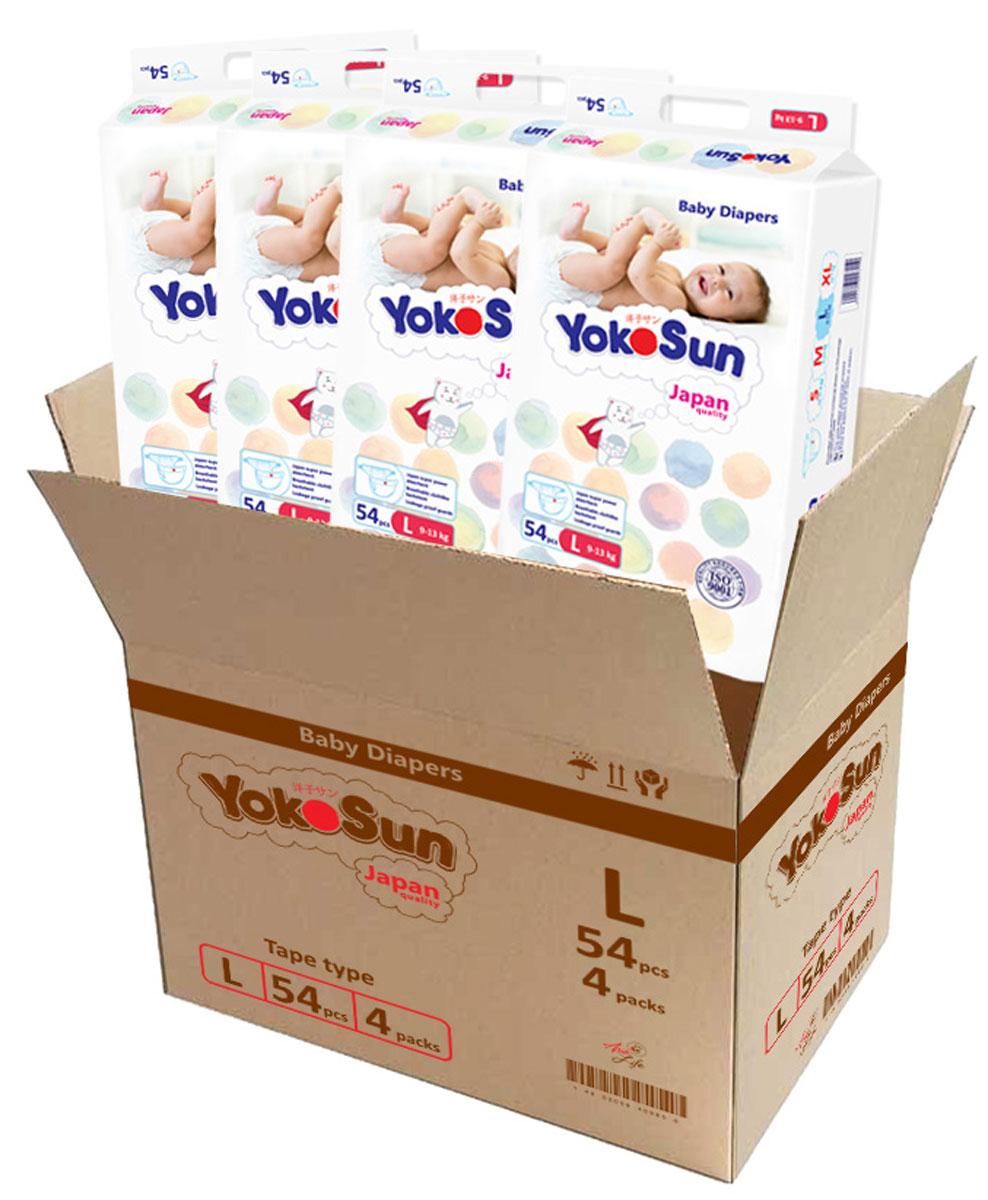 YokoSun Подгузники L 9-13 кг 54 шт 4 упаковки