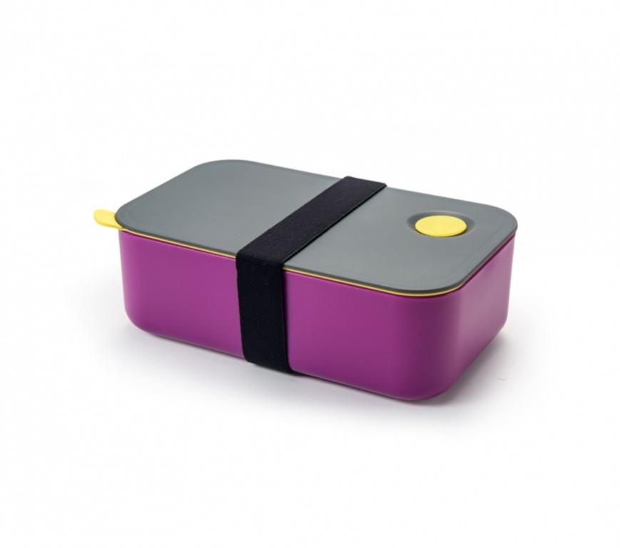 """Ланч-бокс """"Bradex"""", с одним отделением и разделителем, цвет: фиолетовый, серый, 19,5 х 6,5 х 11,5 см"""
