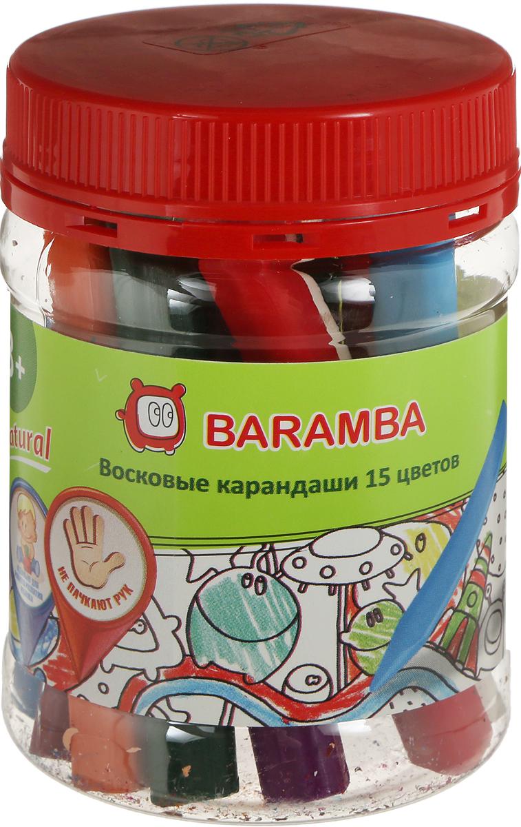 Baramba Набор восковых треугольных карандашей 15 шт с точилкой набор восковых треугольных карандашей 15 цветов