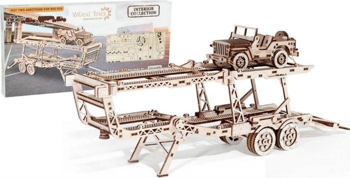 Механический конструктор из дерева Wood Trick Прицеп Автовоз