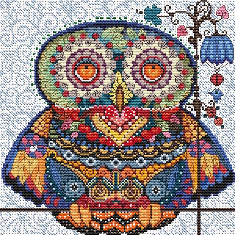 Набор для вышивания крестом Белоснежка Волшебная сова, 27,5 х 27,5 см набор для вышивания крестом созвездие новогодняя игрушка сова 6 5 х 7 5 см