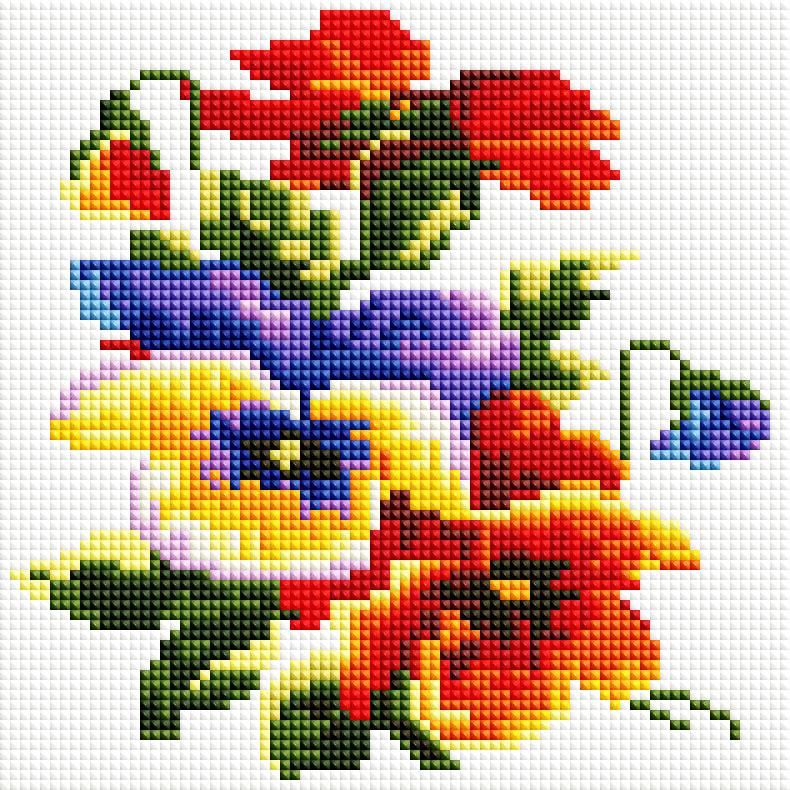 Алмазная мозаика Белоснежка Цветочки, 20 х 20 см352-ST-SНабор для творчества алмазная мозаика поможет вам создать свой личный шедевр - красивую картину, выполненную в мозаичной технике. Каждый камушек выполнен из прочного материала и огранен по типу драгоценных камней. С помощью пинцета стразы размещаются на холст, в результате проявляется рисунок. Основа мозаичной картины - холст на подрамнике усиленный листом оргалита. Тип камней: квадратные 2,5 х 2,5 мм. Количество цветов: 19. 100 % заполнение. Размер готовой работы: 20 х 20 см.