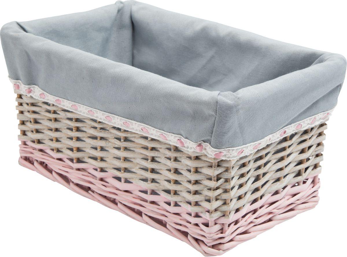 Корзина стеллажная Natural House Пудра, прямоугольная, цвет: серый, 39 х 27 х 20 см корзина быстросъёмная плетеная белая wg 20