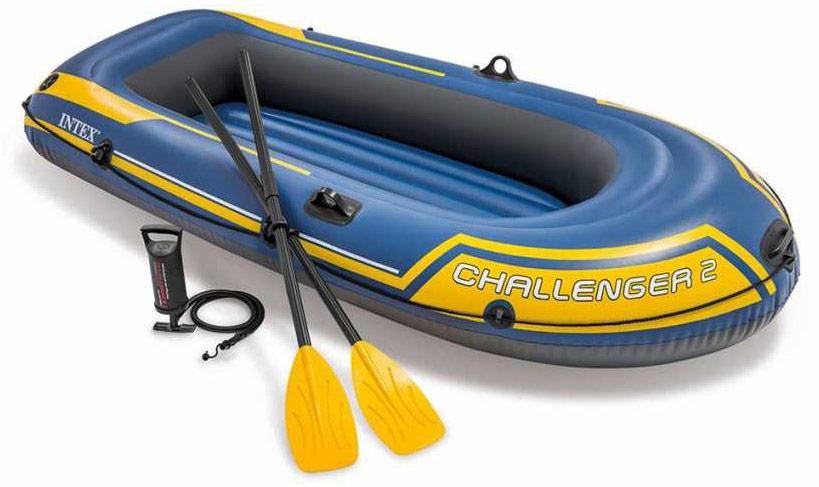 Лодка надувная Intex Challeneger 2, цвет: желтый, синий. 68367NP