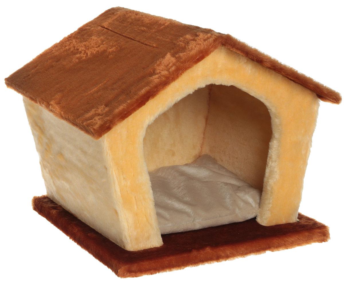 Домик для животных Велес Изба, цвет: коричневый, песочный, 45 х 35 х 40 см клетка для грызунов велес с полками цвет серый 40 х 58 х 45 см