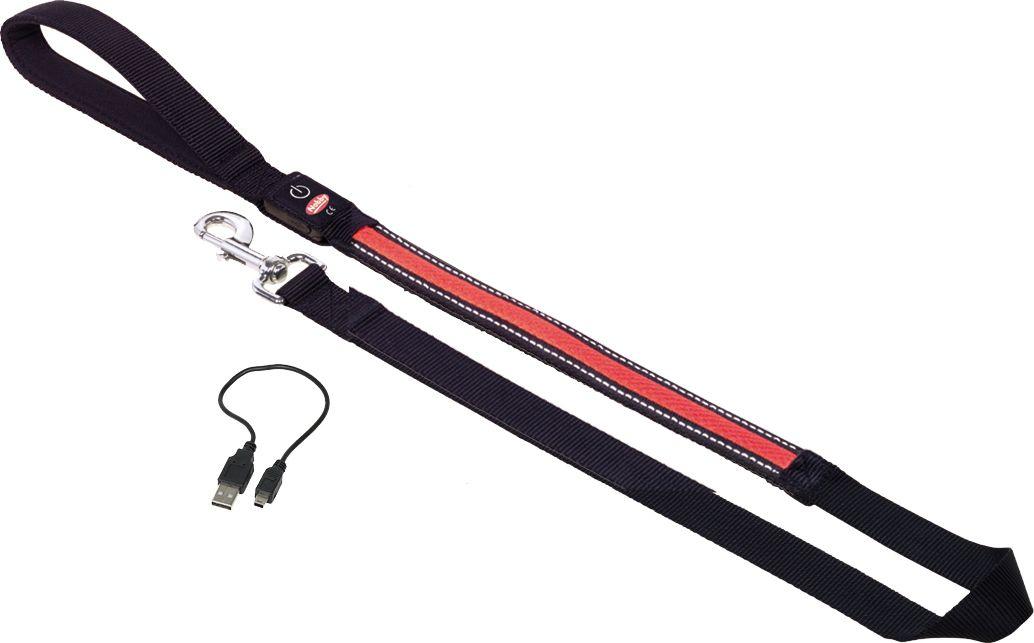 Поводок Nobby, для собак, светодиодный, на аккумуляторах, цвет: красный, длина 120 см поводок nobby для собак светодиодный на аккумуляторах цвет зеленый длина 120 см
