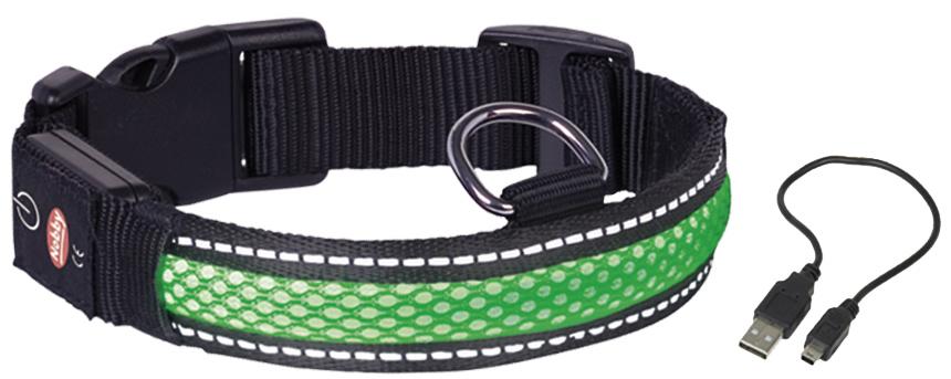 Ошейник Nobby, для собак, светодиодный, на аккумуляторах, цвет: зеленый, обхват шеи 34-41 см поводок nobby для собак светодиодный на аккумуляторах цвет зеленый длина 120 см