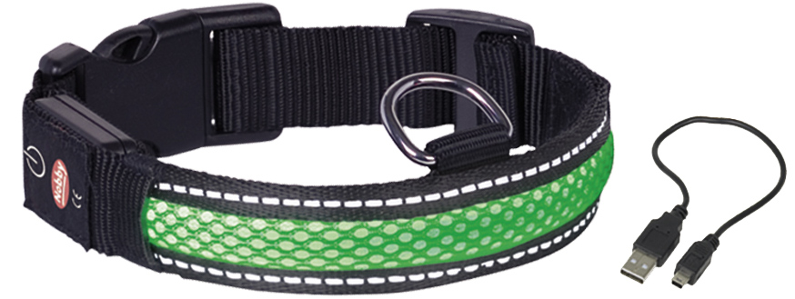 Ошейник Nobby, для собак, светодиодный, на аккумуляторах, цвет: зеленый, обхват шеи 36-51 см поводок nobby для собак светодиодный на аккумуляторах цвет зеленый длина 120 см