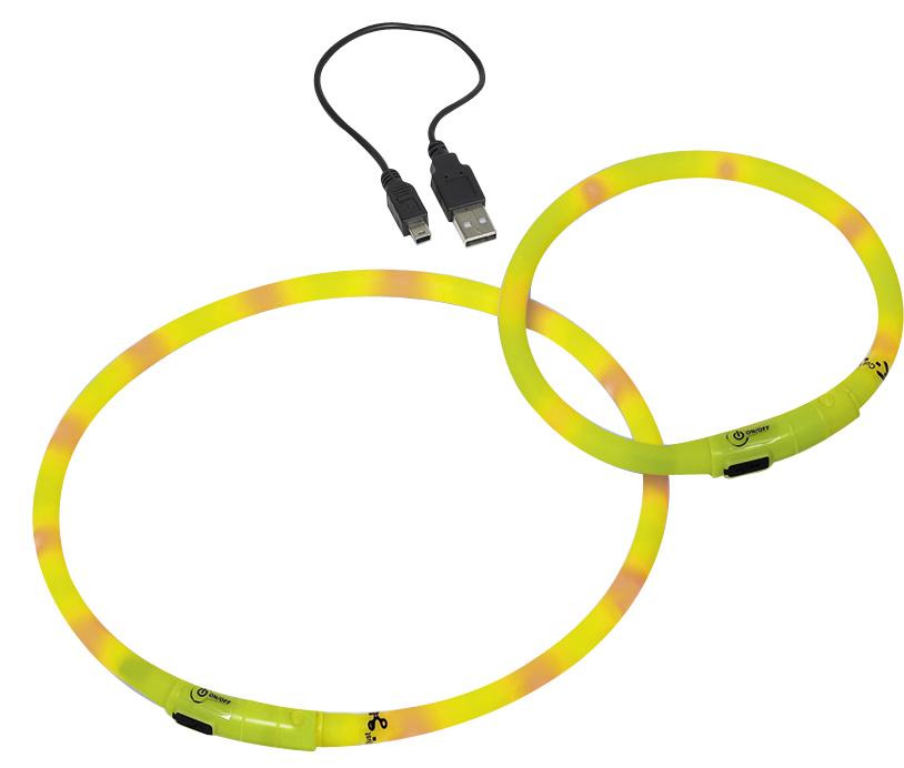 Шнур Nobby, для собак, светодиодный, на аккумуляторах, цвет: желтый, длина 40 см поводок nobby для собак светодиодный на аккумуляторах цвет зеленый длина 120 см