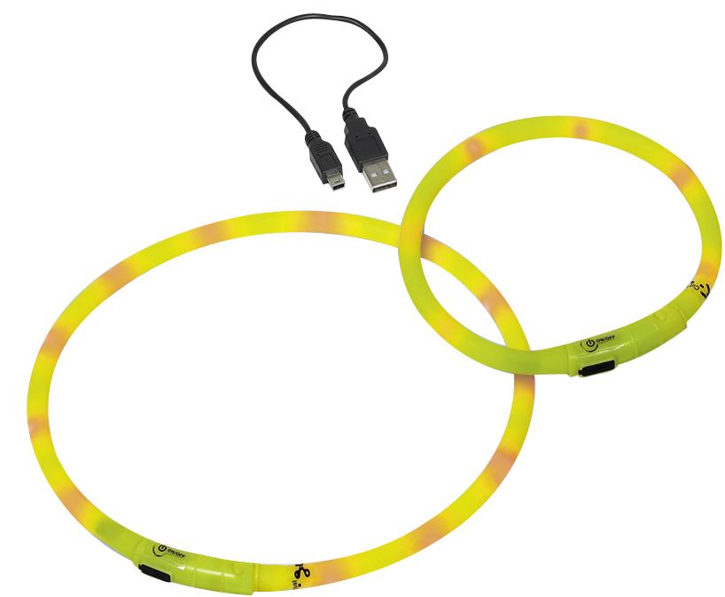 Шнур Nobby, для собак, светодиодный, на аккумуляторах, цвет: желтый, длина 70 см поводок nobby для собак светодиодный на аккумуляторах цвет зеленый длина 120 см