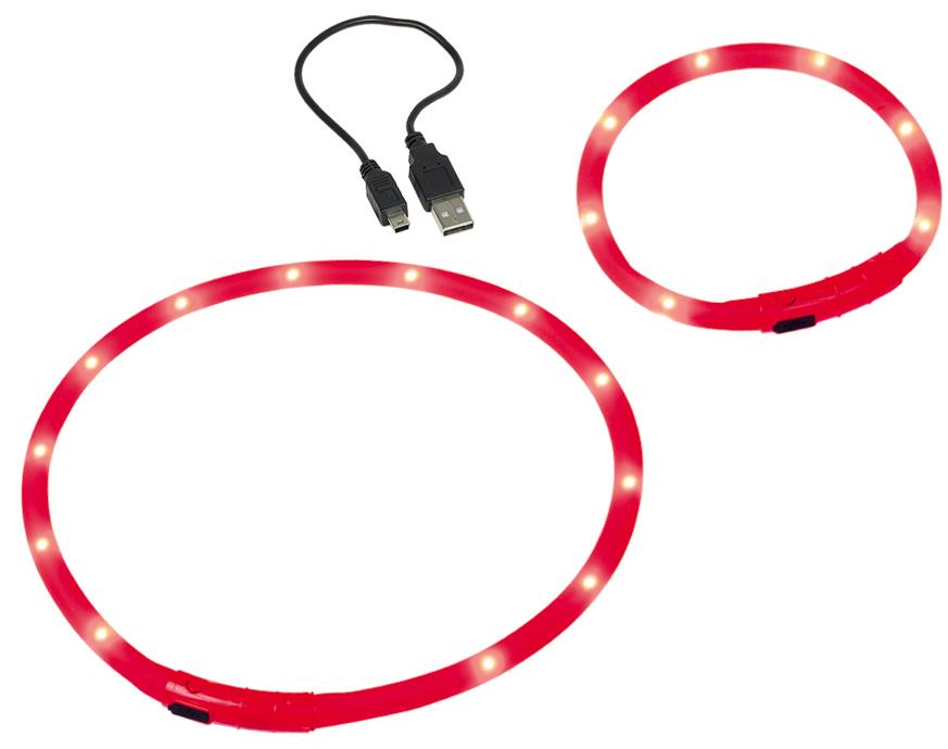 Шнур Nobby, для собак, светодиодный, на аккумуляторах, цвет: красный, длина 70 см поводок nobby для собак светодиодный на аккумуляторах цвет зеленый длина 120 см