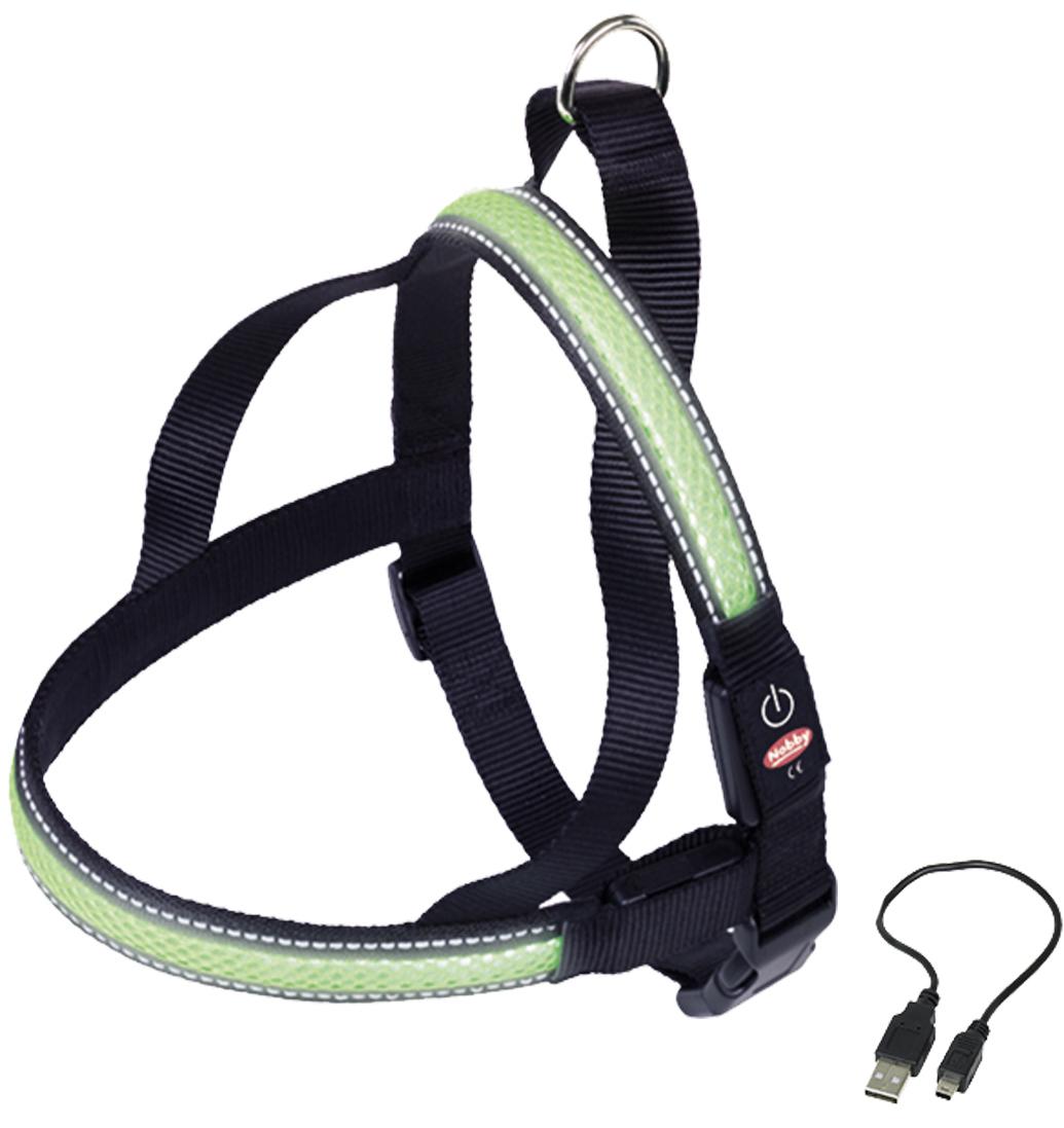 Шлейка Nobby, для собак, светодиодный, на аккумуляторах, цвет: зеленый, обхват шеи 60-75 см поводок nobby для собак светодиодный на аккумуляторах цвет зеленый длина 120 см
