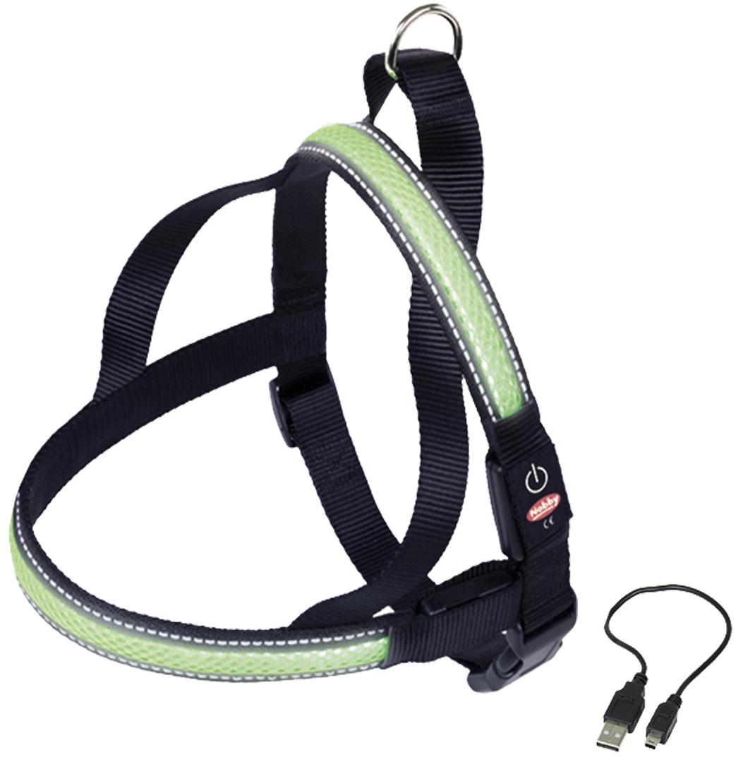 Шлейка Nobby, для собак, светодиодный, на аккумуляторах, цвет: зеленый, обхват шеи 70-85 см поводок nobby для собак светодиодный на аккумуляторах цвет зеленый длина 120 см