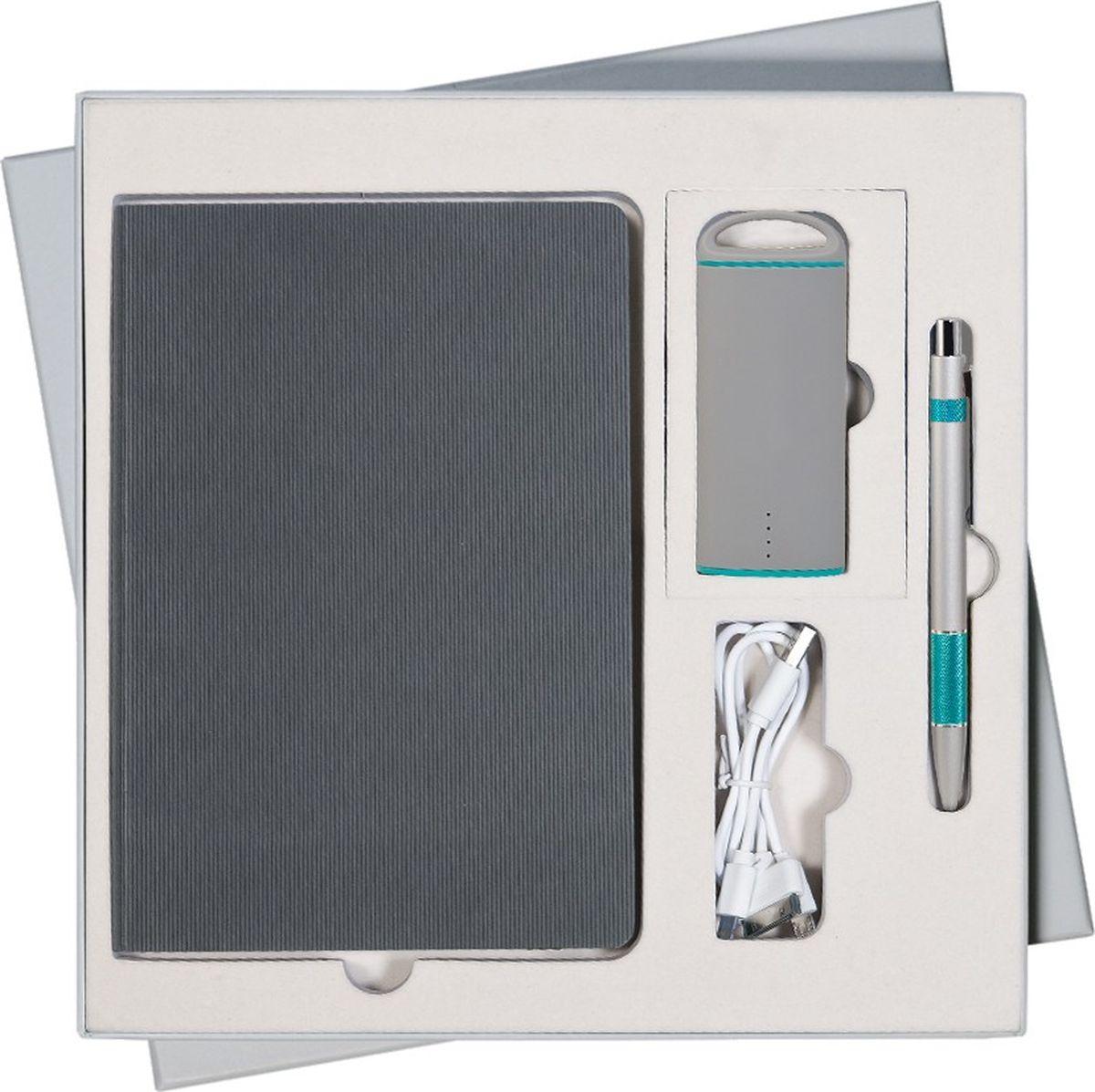 Portobello Trend Подарочный набор Rain GS-312-34GS-312-34-GREY-RAINВ набор входят: - недатированный ежедневник формата A5 со стикерами (содержит 256 страниц); - шариковая ручка Colibri с нажимным механизмом (корпус - алюминий, отделка - цветная гравировка); - внешний аккумулятор Travel Max PB 4000 mAh (пластиковый корпус с покрытием soft touch).