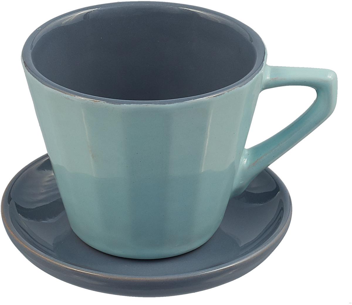 Чайная пара Борисовская керамика Ностальгия, цвет: серо-голубой, серый, 200 мл чайная пара борисовская керамика ностальгия цвет темно фиолетовый голубой 200 мл