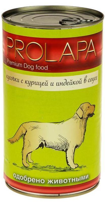 """Корм консервированный """"Prolapa"""" для собак, курица и индейка в соусе, 1,24 кг"""
