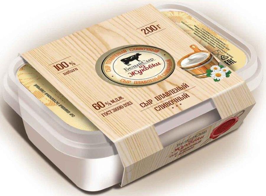Белый сыр из Жуковки Сыр Сливочный, плавленый 60%, 200 г