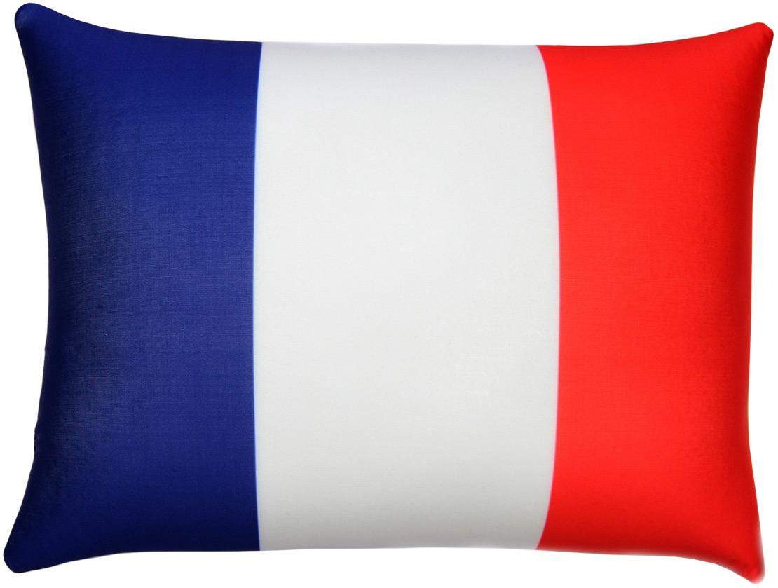 Подушка антистрессовая Штучки, к которым тянутся ручки Флаги. Франция, цвет: белый, синий, красный, 40 x 30 см подушка антистрессовая штучки к которым тянутся ручки смайл мордочки цвет оранжевый 31 x 31 см
