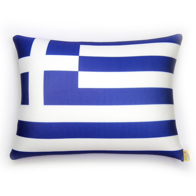 Подушка антистрессовая Штучки, к которым тянутся ручки Флаги. Греция, цвет: синий, 40 x 30 см антистрессовая подушка подкова 30 30