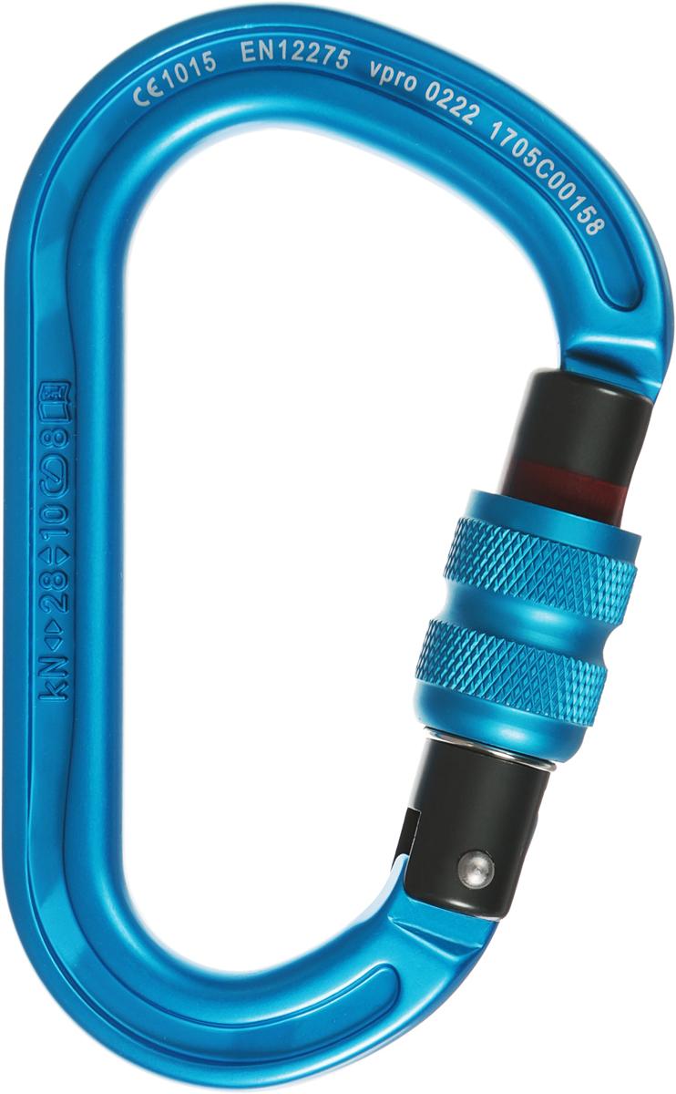 Карабин скалолазный Vento Helium, с муфтой, цвет: синий