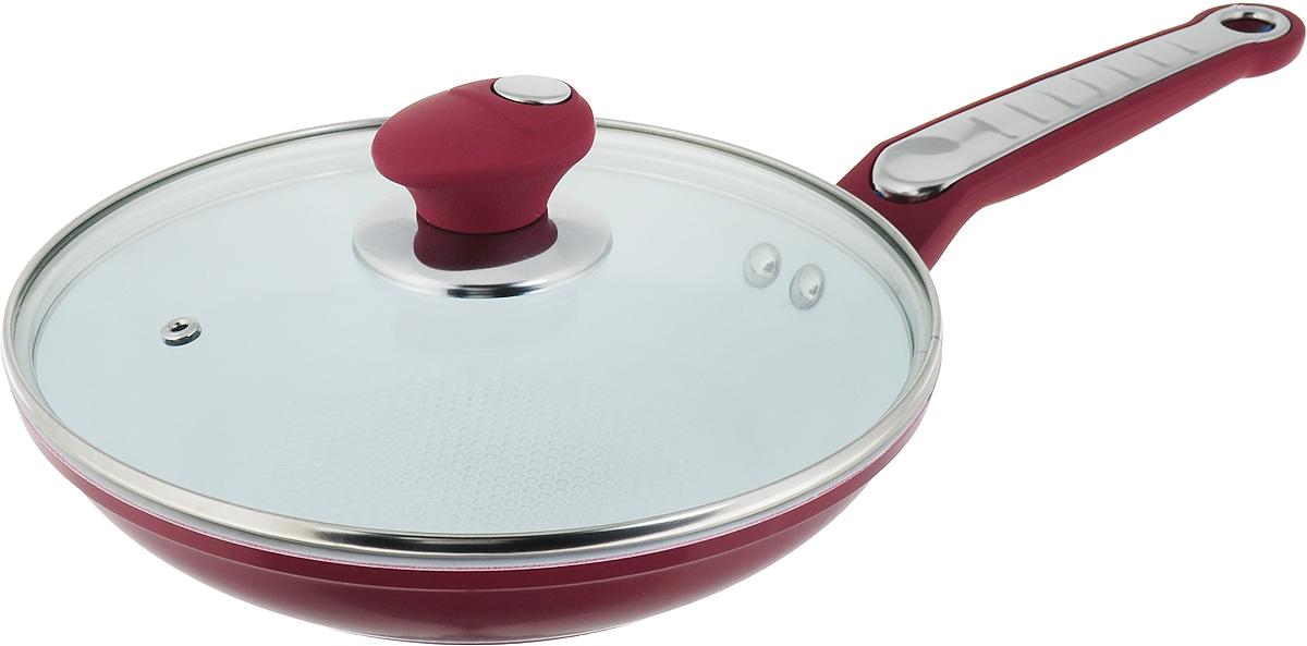 Сковорода Bohmann с крышкой, с керамическим покрытием, цвет: красный. Диаметр 22 см. 7822BH сковорода vari nature с крышкой с антипригарным покрытием диаметр 22 см n31122 12