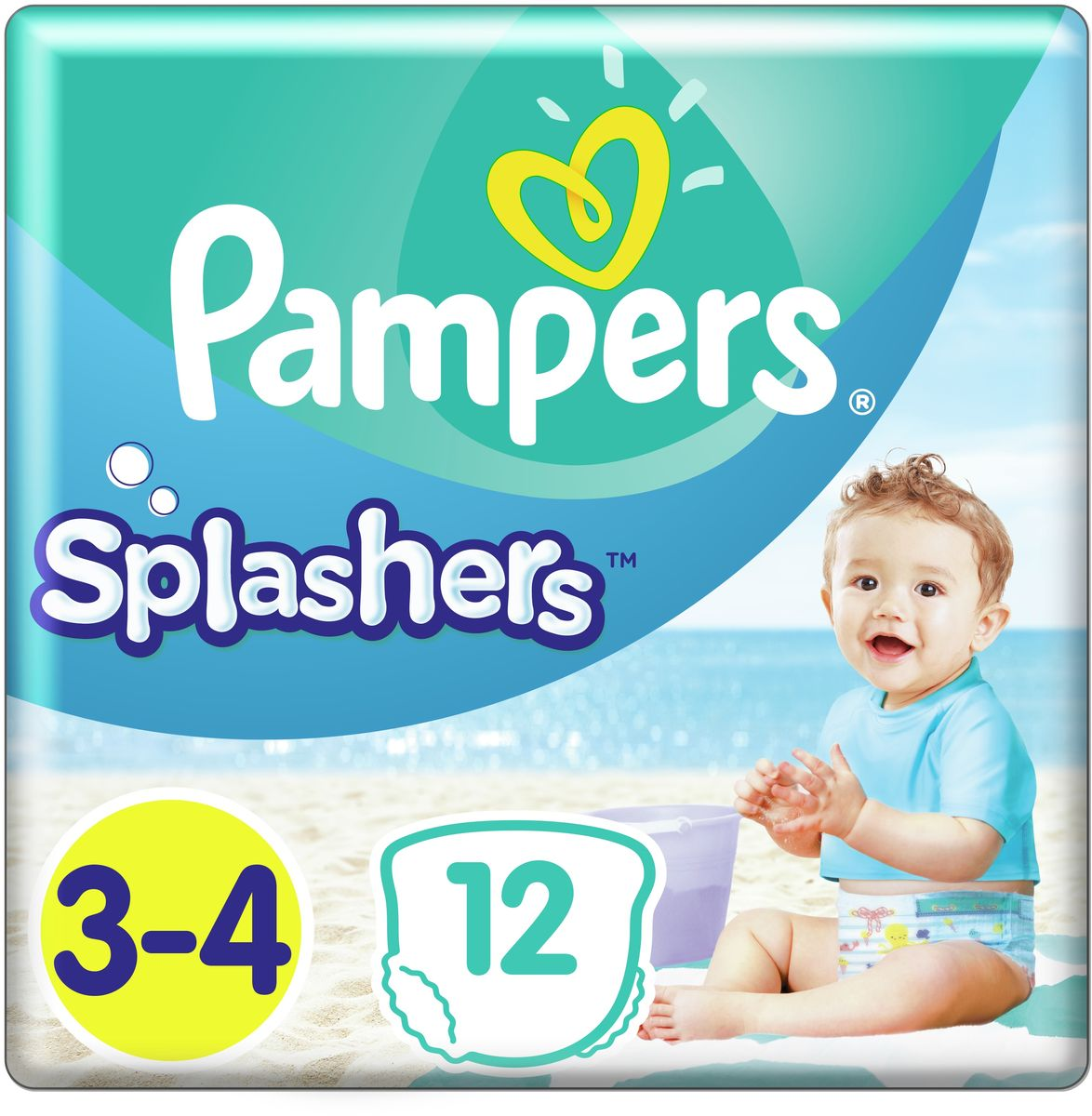 Pampers Трусики для плавания Splashers 6-11 кг размер 3-4 12 шт трусики подгузники pampers splashers для плавания maxi junior 9 15 кг 11 шт