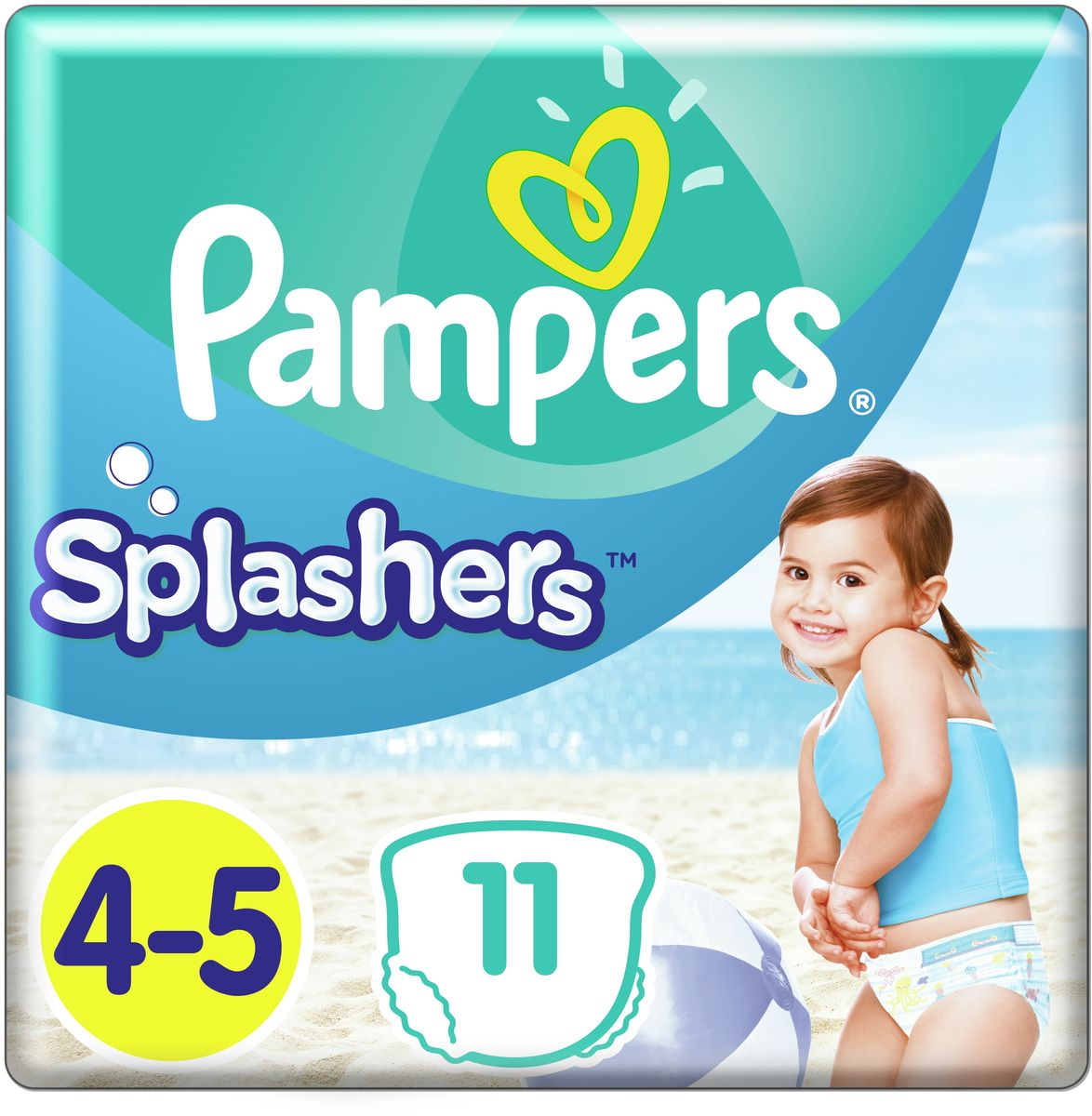 Pampers Трусики для плавания Splashers 9-15 кг (размер 4-5) 11 шт трусики подгузники pampers splashers для плавания maxi junior 9 15 кг 11 шт
