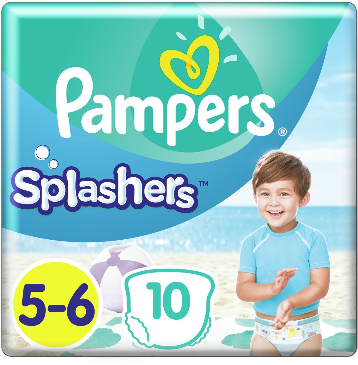 Pampers Трусики для плавания Splashers 15 кг+ (размер 5-6) 10 шт трусики подгузники pampers splashers для плавания maxi junior 9 15 кг 11 шт
