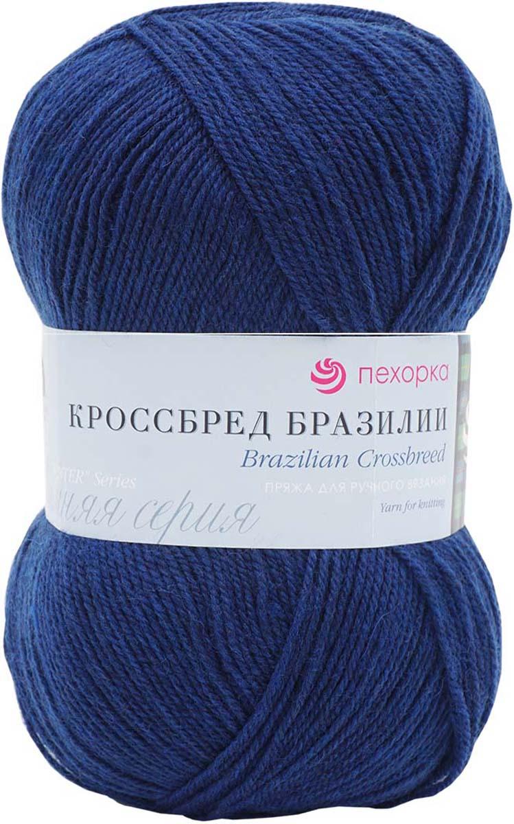 "Пряжа Пехорка ""Кроссбред Бразилия"", 100 г, 500 м, цвет: 571 синий. 360036"