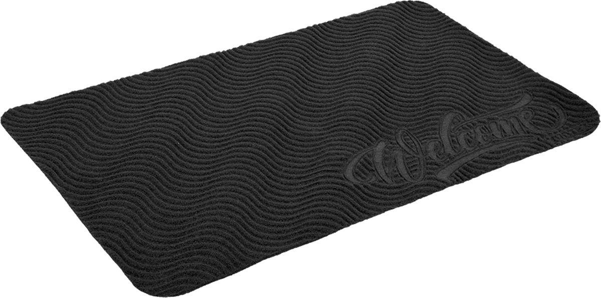 Коврик придверный Vortex Comfort Welcome, без подложки, цвет: серый, 75 x 45 см цена