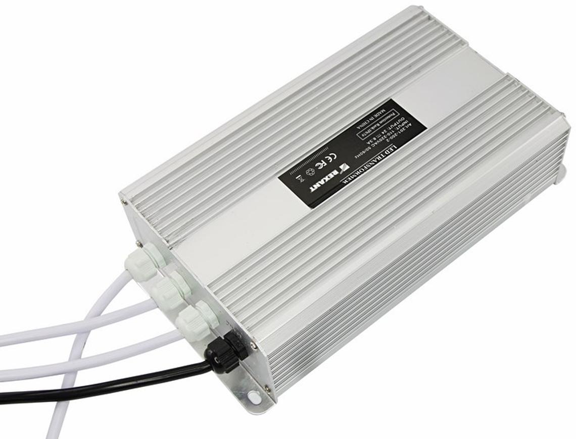 Фото - Блок питания для светильника Rexant, 12V, 200W, с проводами, влагозащищенный источник питания тонкий 220v ac 24v dc 8 33а 200w с проводами влагозащищенный ip67