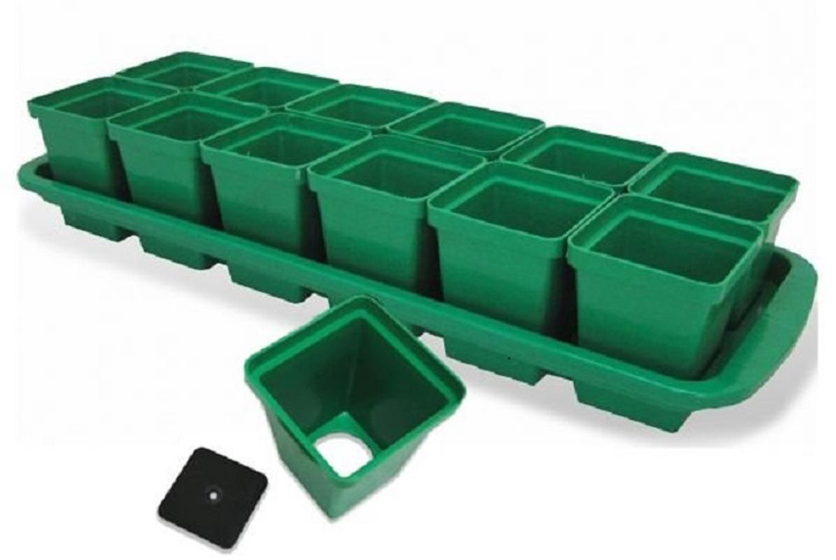Набор горшков для выращивания рассады Урожай-12, с поддоном, 47,6 х 23,5 х 8,5 см, 200 мл, 12 шт ящик для рассады archimedes урожай 2